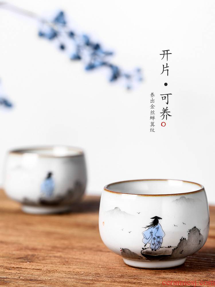 Masters cup your up sample tea cup jingdezhen archaize ceramic cups pure manual single CPU hand - made ancientry kung fu tea set