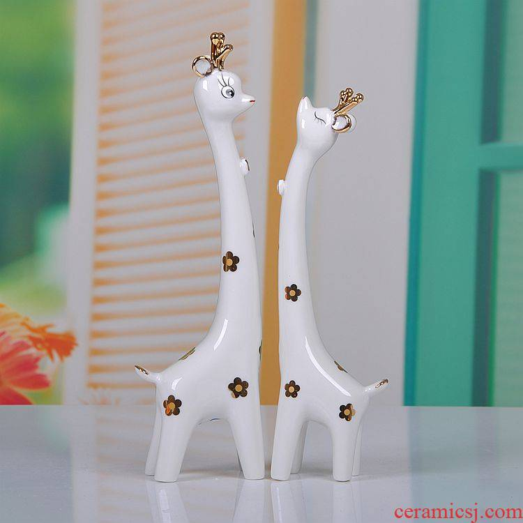 Scene, jingdezhen modern decorative ceramic crafts home furnishing articles couples a pair of sika deer