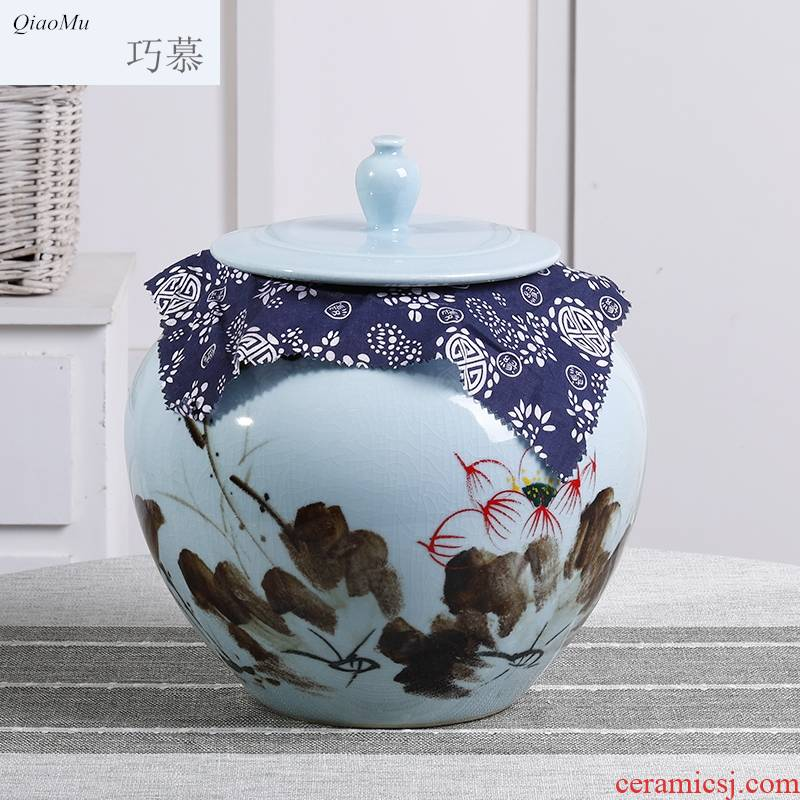 Qiao mu ceramics with cover barrel household 30 kg sealed storage bins insect - resistant moistureproof 15 kg rice jar of jingdezhen