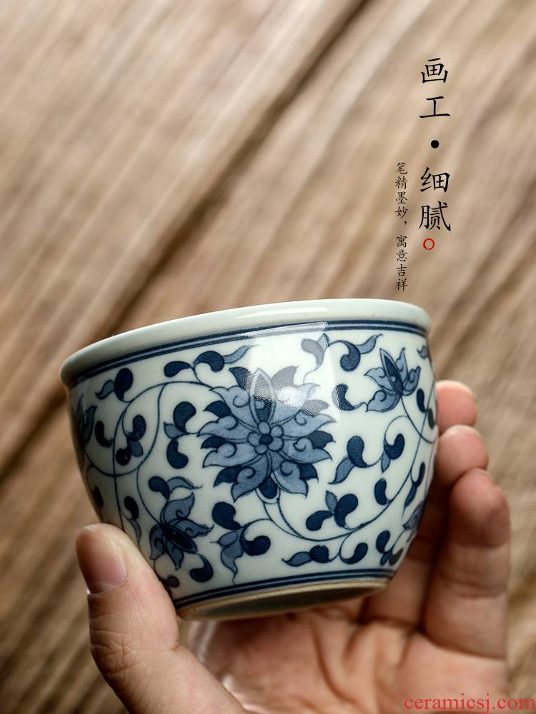 Blue and white tie up branch lotus master cup single cup pure manual jingdezhen hand - made sample tea cup single ceramic cups male kung fu