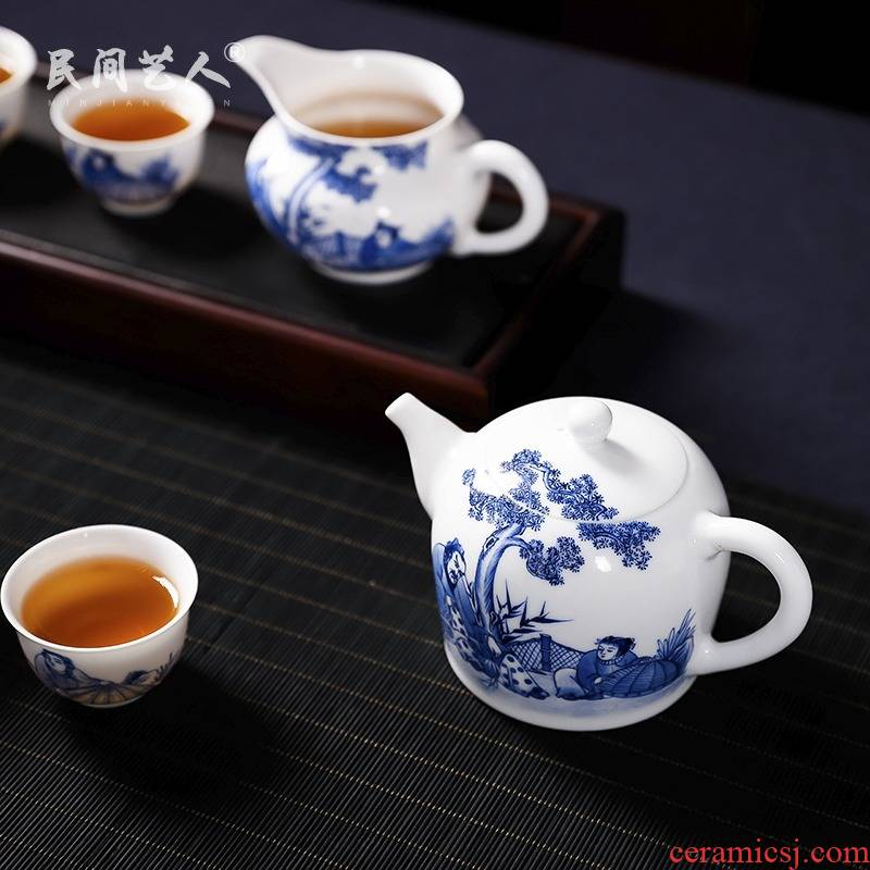 Jingdezhen blue and white glaze pure hand - made tea set under the teapot kung fu tea kettle sample tea cup