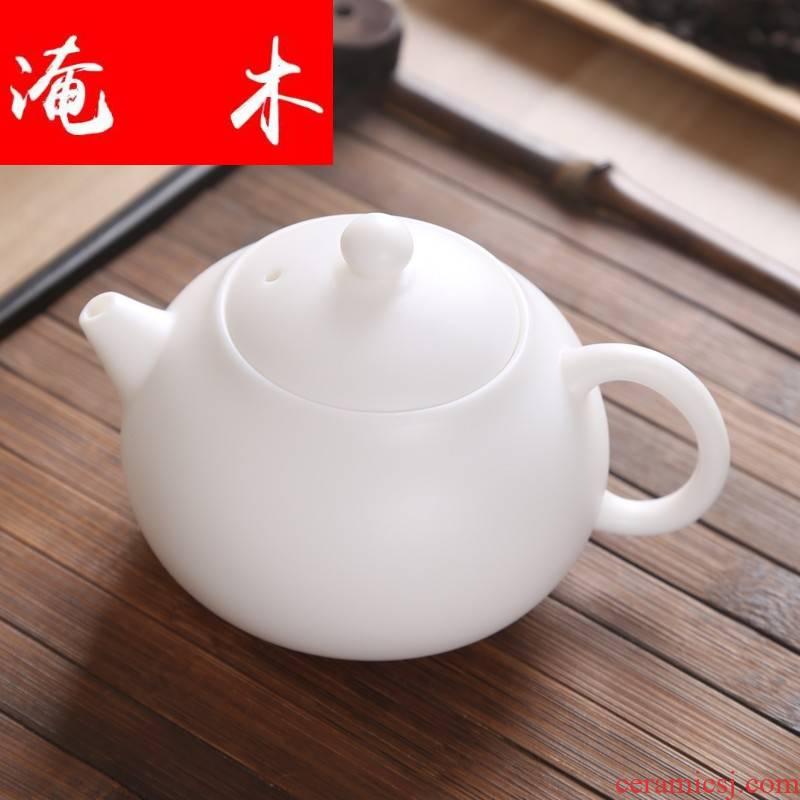 Submerged wood matte enrolled white porcelain teapot filtering household ceramic teapot Japanese kung fu tea set single pot small xi shi pot