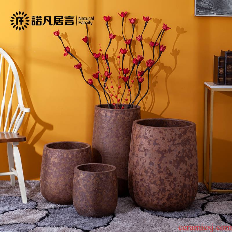 Ceramic vase dried flowers flower arrangement sitting room place, light simple retro nostalgia new European key-2 luxury flowers, home decoration