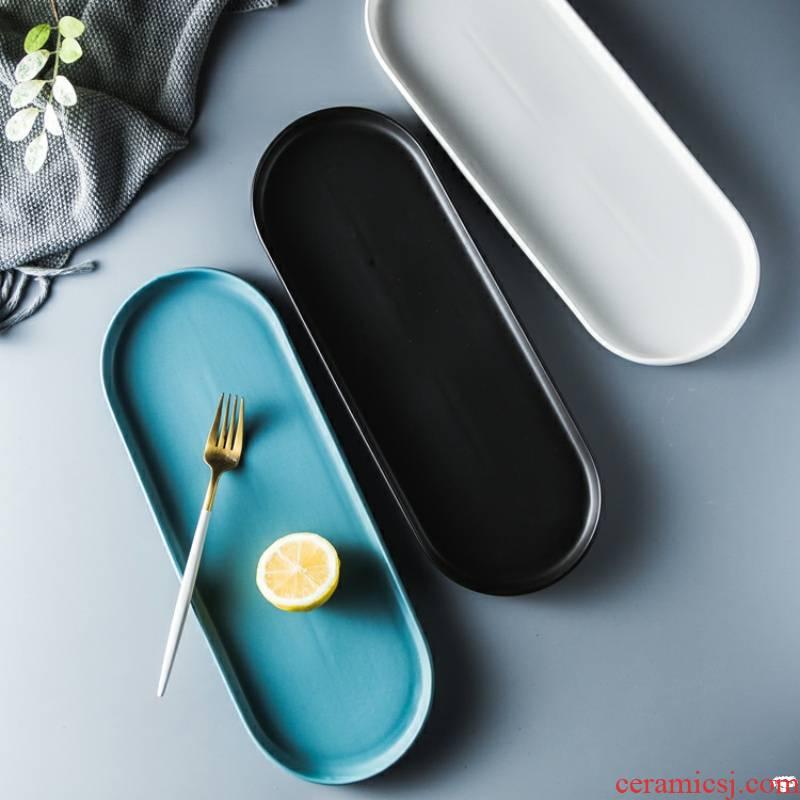 Silvio creative ceramic tray was long irregular oval plate plate household utensils flat dish dish dish dish