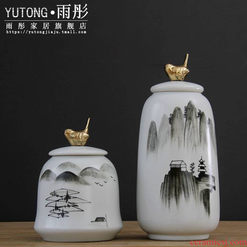 Jingdezhen porcelain pot hand - made scenery zen model metal accessories decorative crafts flower furnishing articles sitting room
