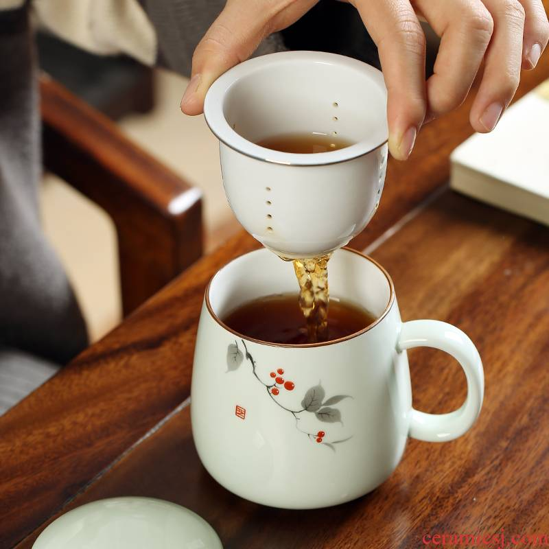 Ms office boss ceramic cups male flower tea custom personal tea filter with cover glass household cup