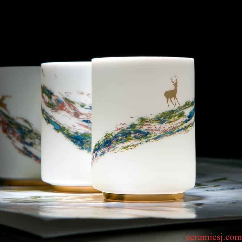 Jingdezhen ceramic tea cup suet jade white porcelain cup individuals dedicated men and women drinking tea tea master cup single CPU