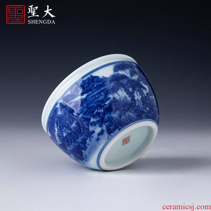 The big blue and white landscape cylinder cup teacups hand - made ceramic kung fu master cup all hand jingdezhen tea sample tea cup