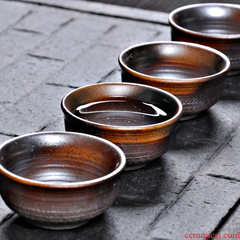 巧慕 柴烧茶壶功夫茶具套装 粗陶陶制复古手工侧把柴烧茶具礼盒装