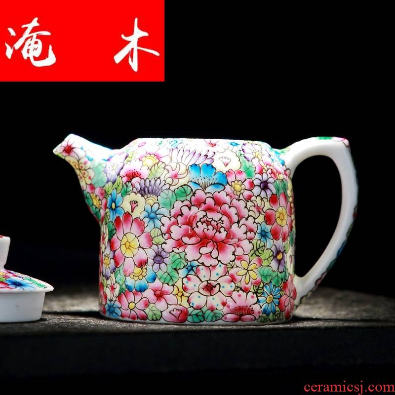 Flooded jingdezhen wood colored enamel hand - made flower is little teapot filtering household kung fu tea set ceramic tea