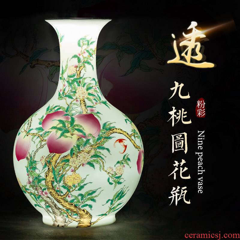Jingdezhen ceramic vase furnishing articles large flower arranging manual of new Chinese style restoring ancient ways is about nine peach rich ancient frame sitting room adornment