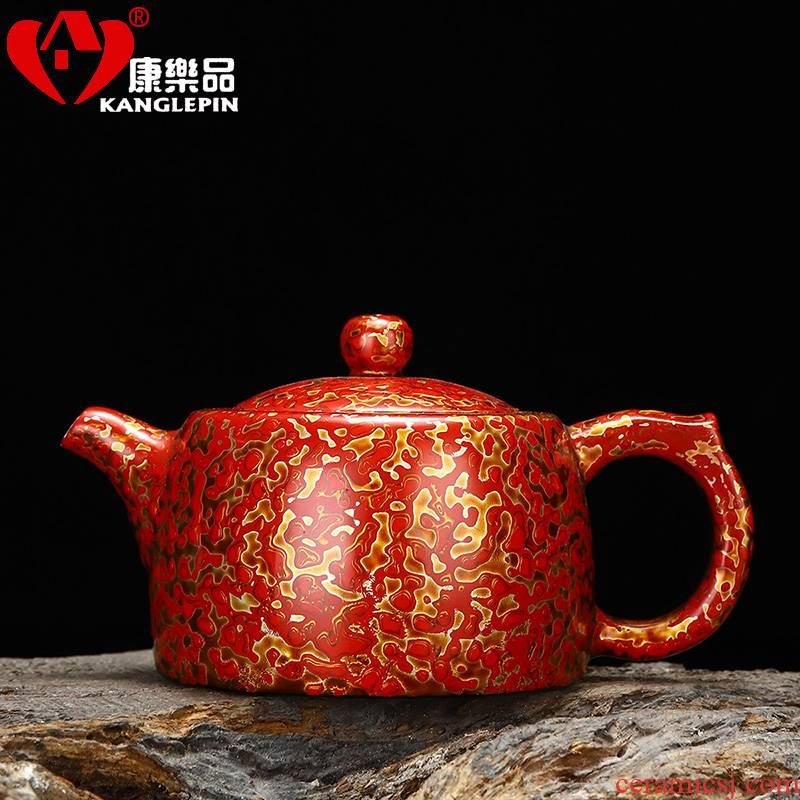 Recreation is tasted Chinese lacquer 14.5 cm high, 7.3 cm wide white porcelain teapot lacquer pot of tea set well the column capacity of 200 ml