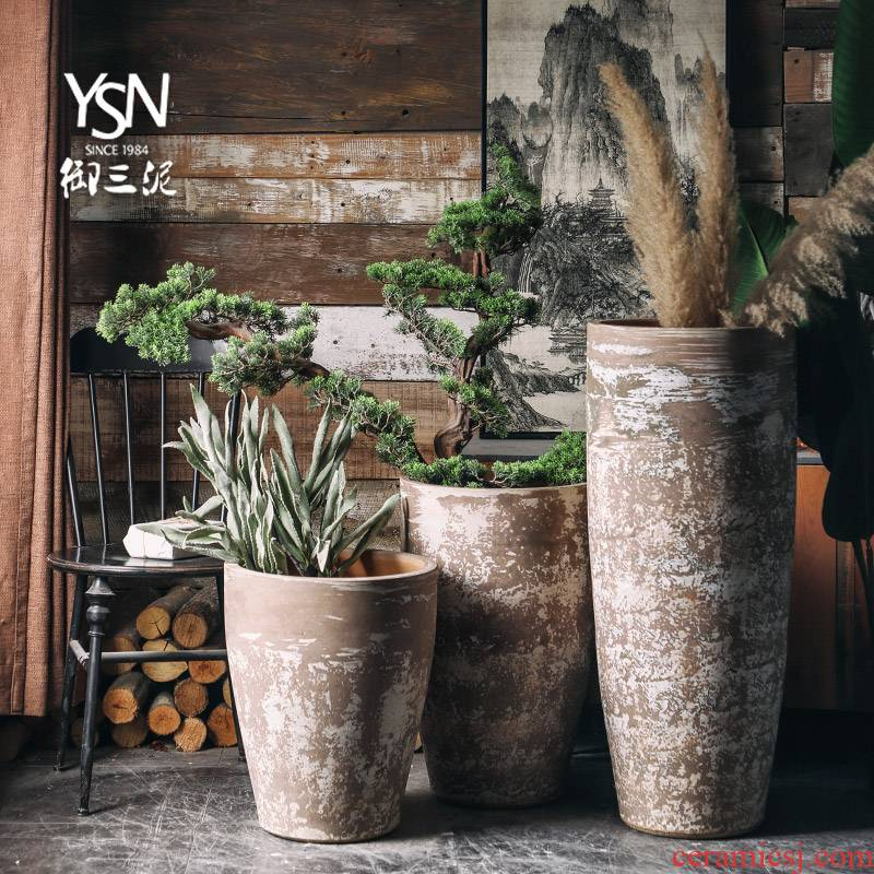 Northern Europe to restore ancient ways do old large caliber flowerpot vase of indoor the plants dried flowers furnishing articles ceramic green plant water jugs