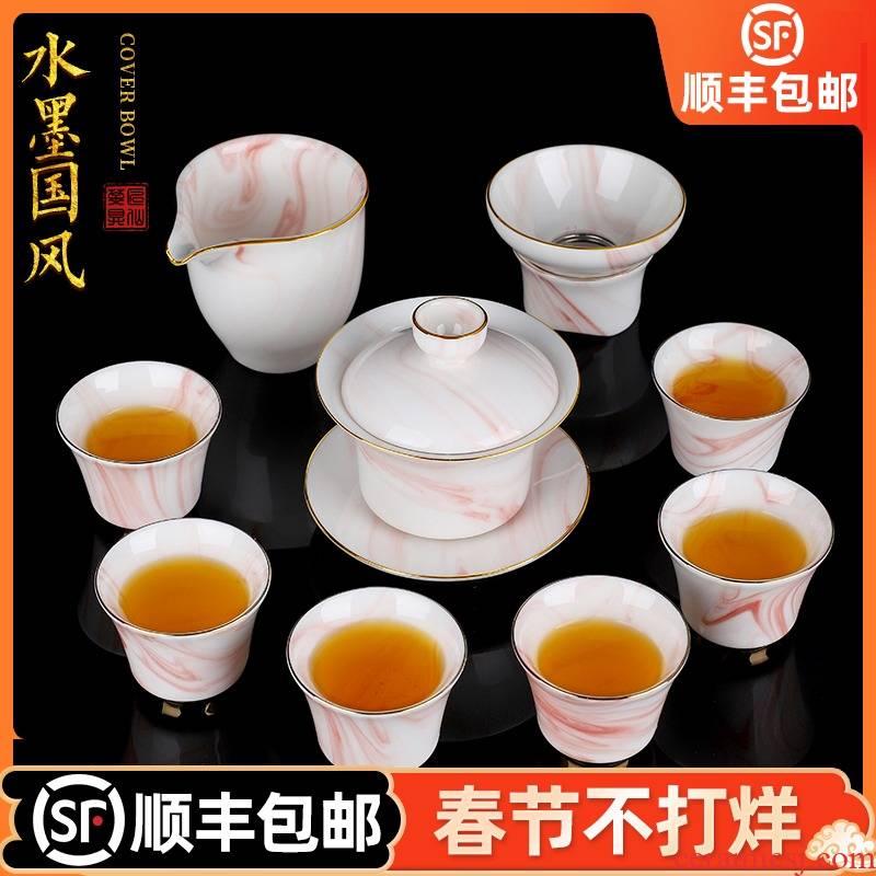 Huai artisan fairy ink white porcelain tureen tea set ceramic household hand paint kung fu tea set gift boxes