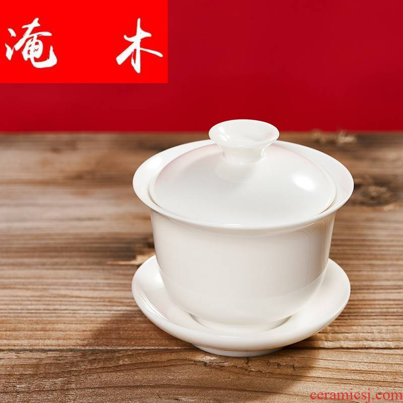 Submerged wood dehua suet jade white porcelain only three tureen matte enrolled biscuit firing kung fu tea tea light cup ceramic tea by hand