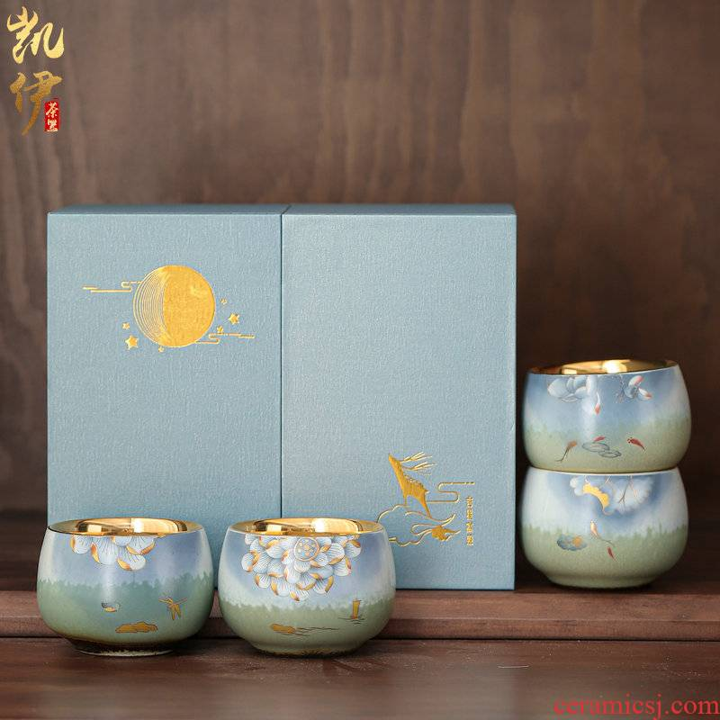 Gold light LuSen large sample tea cup of jingdezhen ceramic masters cup of kung fu tea tea cups of tea Gold cup