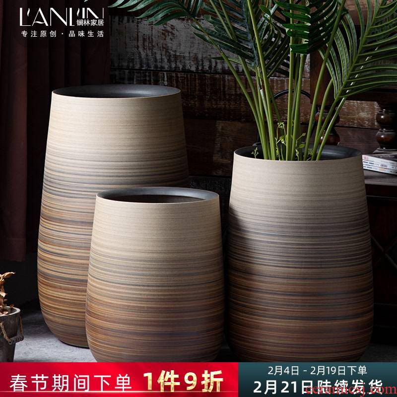 Ceramic heavy ground flowerpot Nordic creative villa living room decoration place to live in a simulation, green plant flower vase
