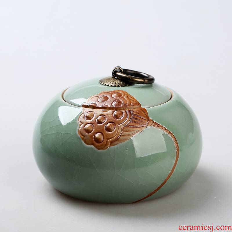 Hui shi celadon big yard storage tanks checking ceramic tea set portable puer tea sealed as cans large - sized caddy fixings elder brother up
