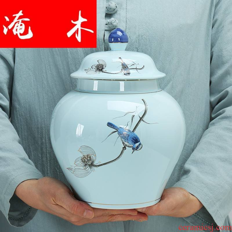Submerged wood general large blue and white celadon porcelain tea pot hand - made seal detong 2 jins gift boxes of gifts