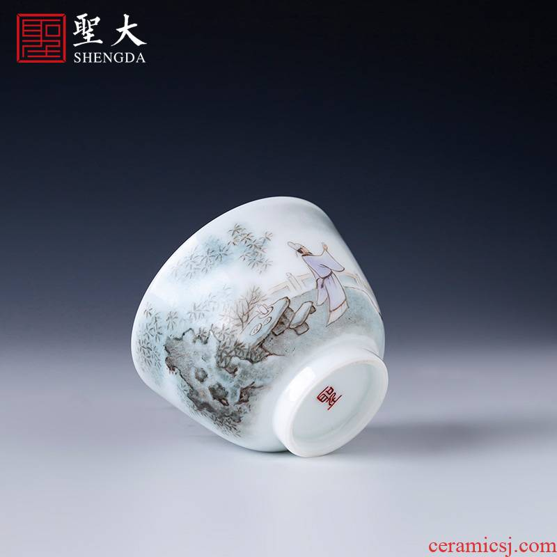 Santa teacups hand - made ceramic kung fu new see colour character li bai masters cup all hand jingdezhen tea sample tea cup