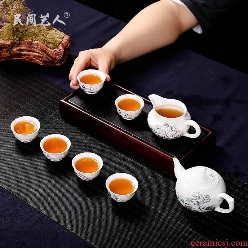Jingdezhen kung fu tea set hand - made pure manual set of ceramic tea set teapot master single fair keller cup