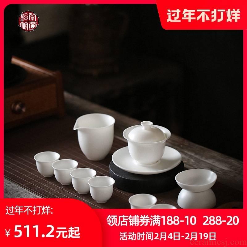Dehua white porcelain thin body suit household kunfu tea suet jade tureen tea six people make tea of a complete set of living room