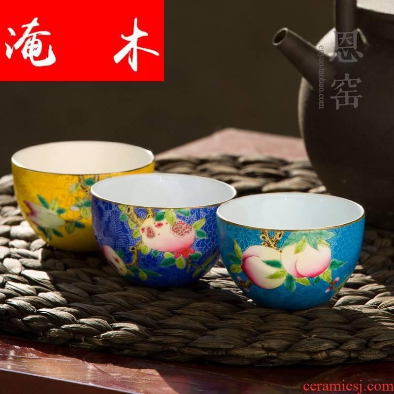Submerged wood powder enamel children live long and prosper jingdezhen manual pick flowers tea cups fine porcelain sample tea cup