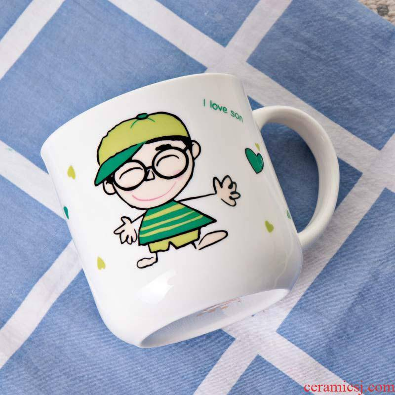 Toothbrush with brushing your teeth three couples of ceramic cup cup children suit a parent - child cup gargle cup family teeth