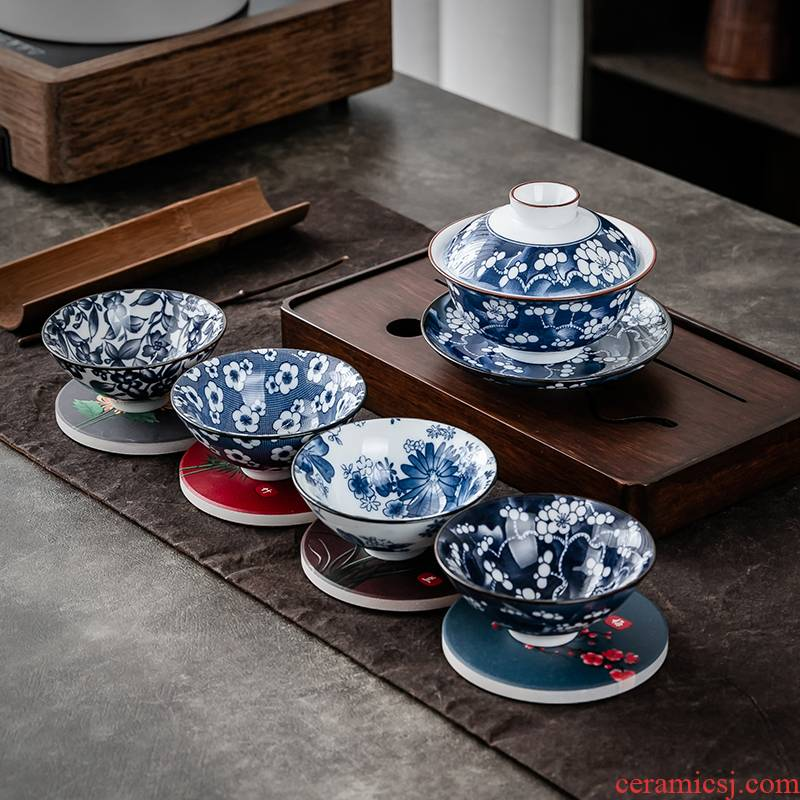 Hui shi blue - and - white porcelain cup suit kung fu tea set blue and white porcelain ink Chinese wind blue sample tea cup hat to a cup of tea