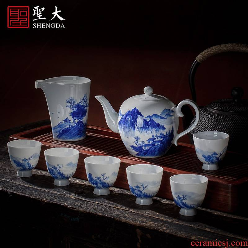 Holy big ceramic fair kung fu tea sets jingdezhen blue and white landscape hand - made teapot sample tea cup eight head groups
