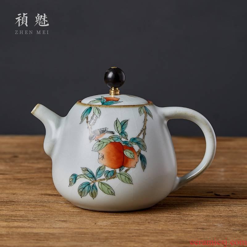 Shot incarnate your up hand - made apple bird jingdezhen ceramic teapot kung fu tea set household filter teapot single pot