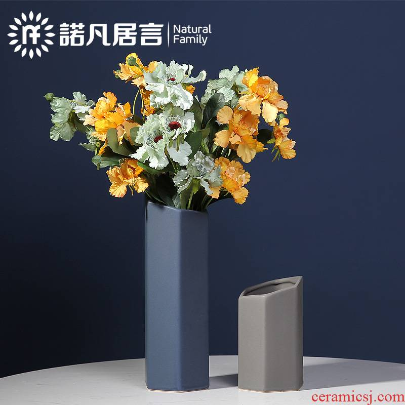 Nordic ceramic vase mesa creative hexagon morandi color flower arrangement sitting room place dry flower decoration decoration