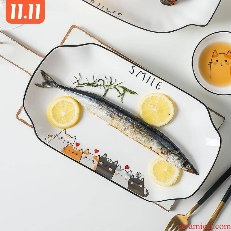 Nordic contracted creative ears fish plate microwave oven steamed fish dishes ceramic cat rectangle hot dishes