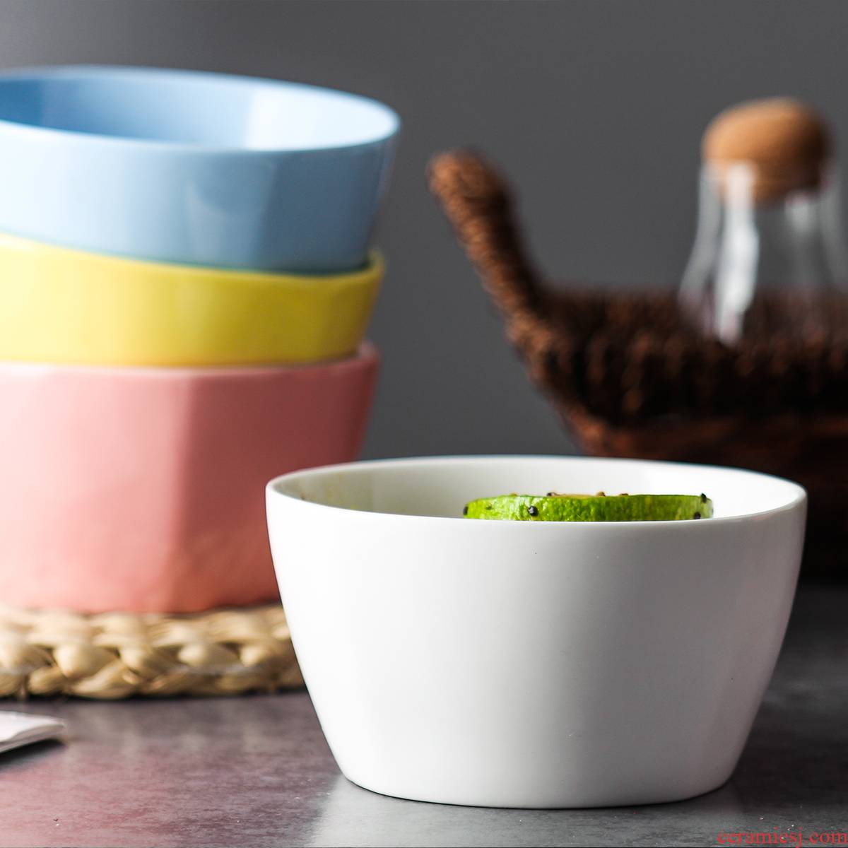 Creative Nordic ceramic square bowl contracted household utensils to eat bowl of the big bowl of soup bowl breakfast salad bowl such as always