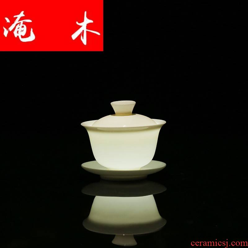 Submerged wood Chinese dehua white porcelain suet jade craft ceramic tureen three bowl of thin foetus China cups white tureen