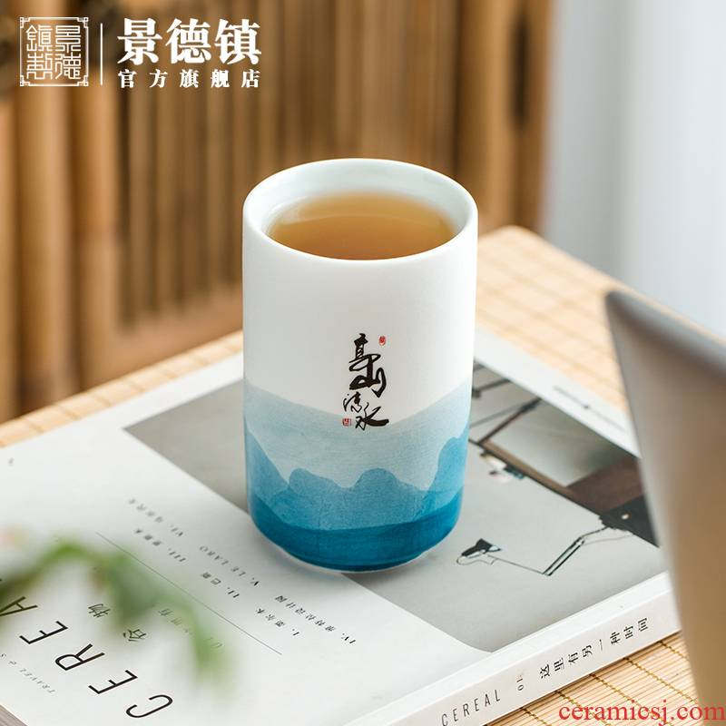 Jingdezhen flagship store on checking painting a single simple office ceramic straight ultimately responds to a cup of tea cups