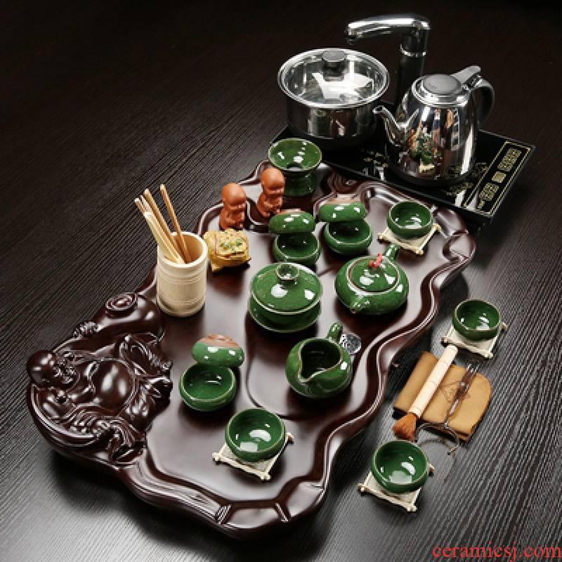 Hui shi kung fu tea set tea taking of household ceramic cups of a complete set of I and contracted solid wood tea tray tea tea