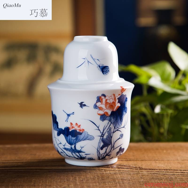 Qiao mu jingdezhen high white clay four two set temperature jar of wine wine warm hot and clear a jar of wine wine