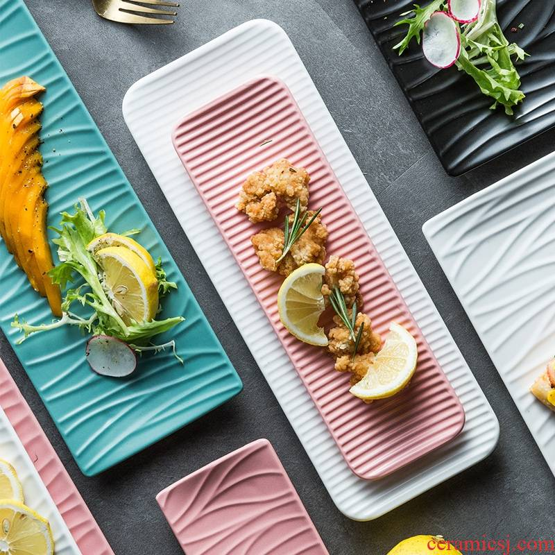 Snack plate Japanese sushi bar plate western food form long plate plate ceramic ideas long rectangular plate of northern Europe