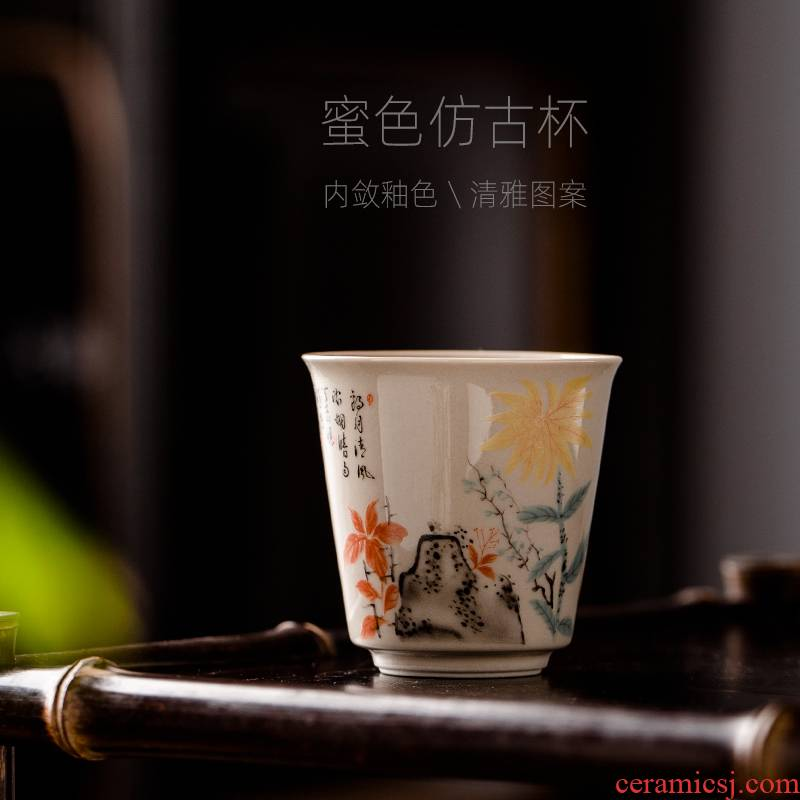 Jingdezhen ceramic tea cups master kung fu tea cup single CPU antique single sample tea cup men 's lady