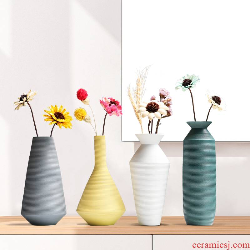 Morandi Nordic ceramic floret bottle furnishing articles dried flower adornment flower arrangement sitting room table, TV ark, home decorations