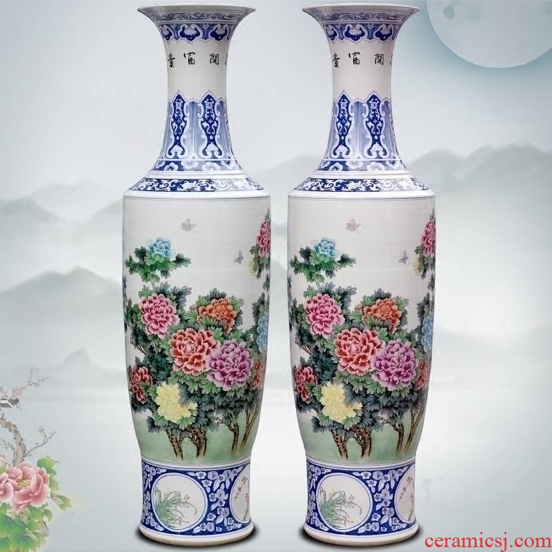 Hand - made pastel riches and honor peony flowers figure sitting room of large vase store decorations of jingdezhen ceramic furnishing articles