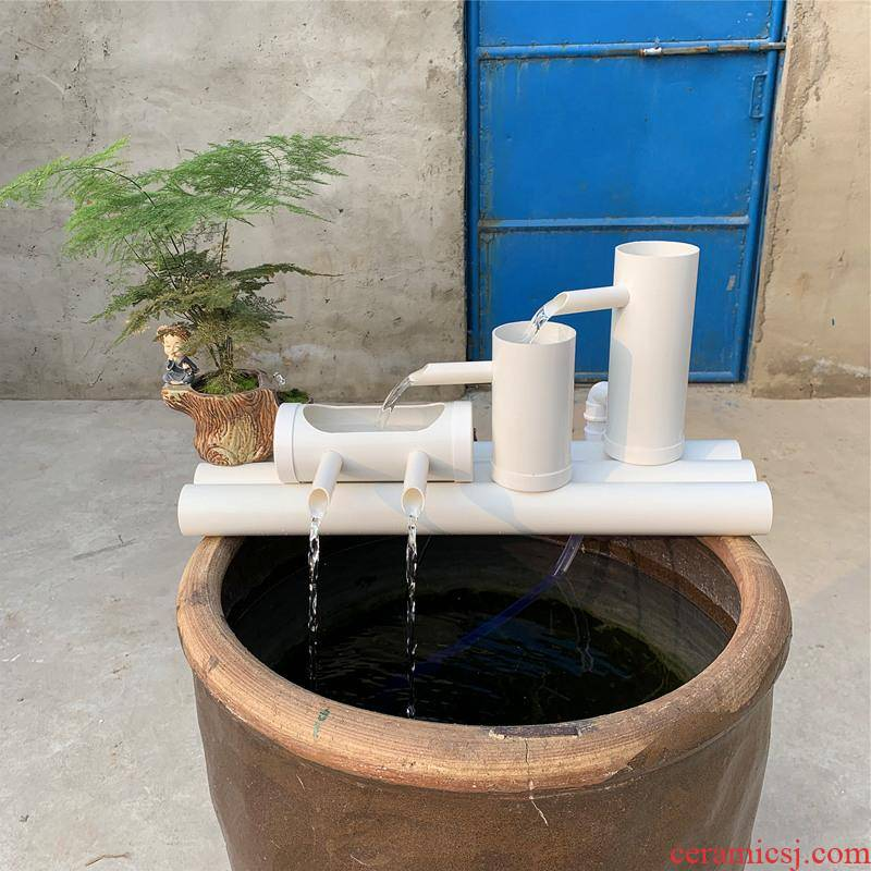 Ceramic fish tank water circulation turtle cylinder filtration system filter triad equipment placed on small circular cylinder