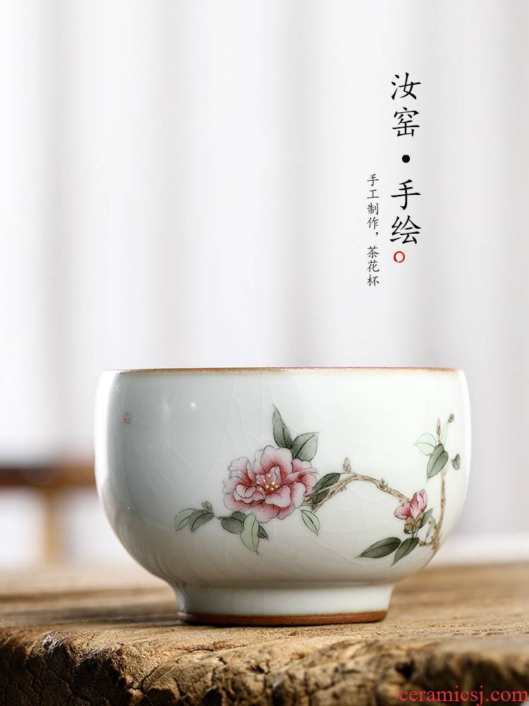 Hand draw your up teacup camellia kung fu master cup single CPU jingdezhen of pure manual sample tea cup single ceramic cups
