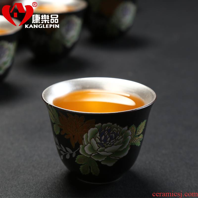 Recreation article 999 sample tea cup silver cup silver tea set ceramic coppering. As silver cup kongfu master cup single CPU