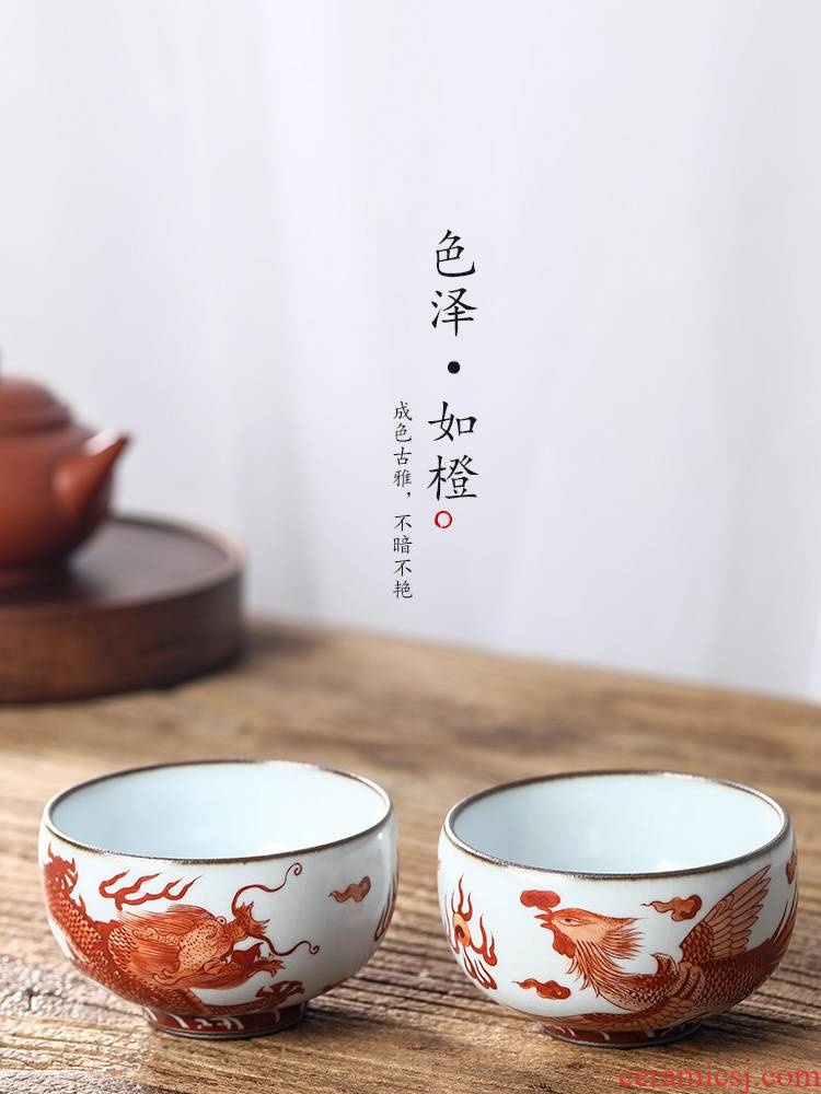 Jingdezhen ru up market metrix who cup a cup of pure checking ceramic sample tea cup hand - made zodiac longfeng kung fu tea cup
