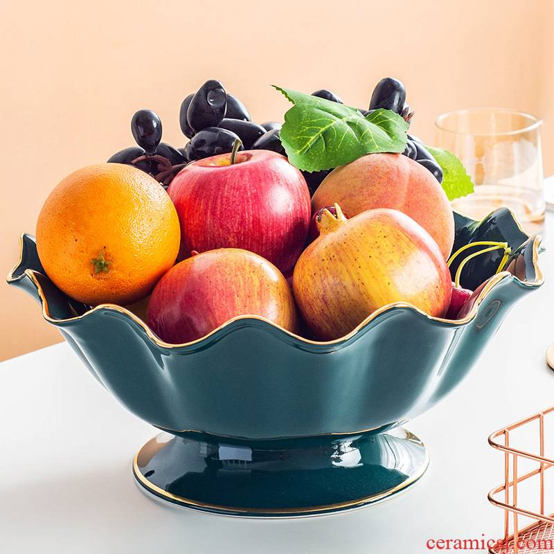 European ceramic candy dishes light key-2 luxury home sitting room of modern high - grade fruit bowl dried fruit tray table furnishing articles to receive dish