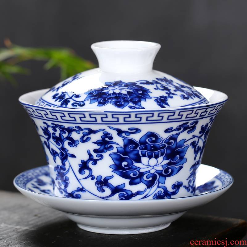 Tureen large blue and white porcelain only three cups of jingdezhen ceramic worship three fort kung fu tea tea cups