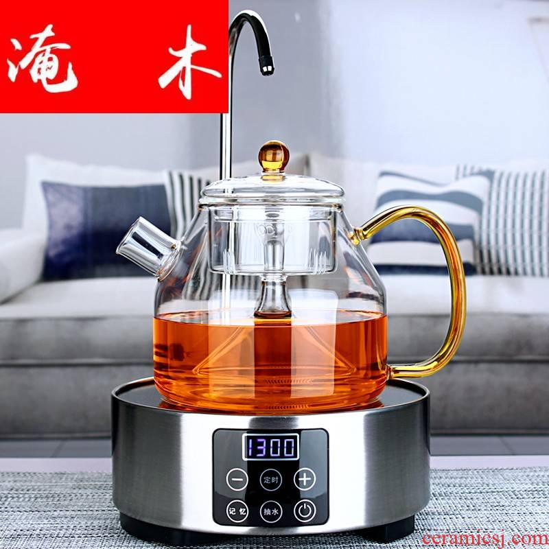 Flooded wooden steaming full glass teapot with automatic pumping on hydropower TaoLu heat - resistant glass teapot steam boiling tea