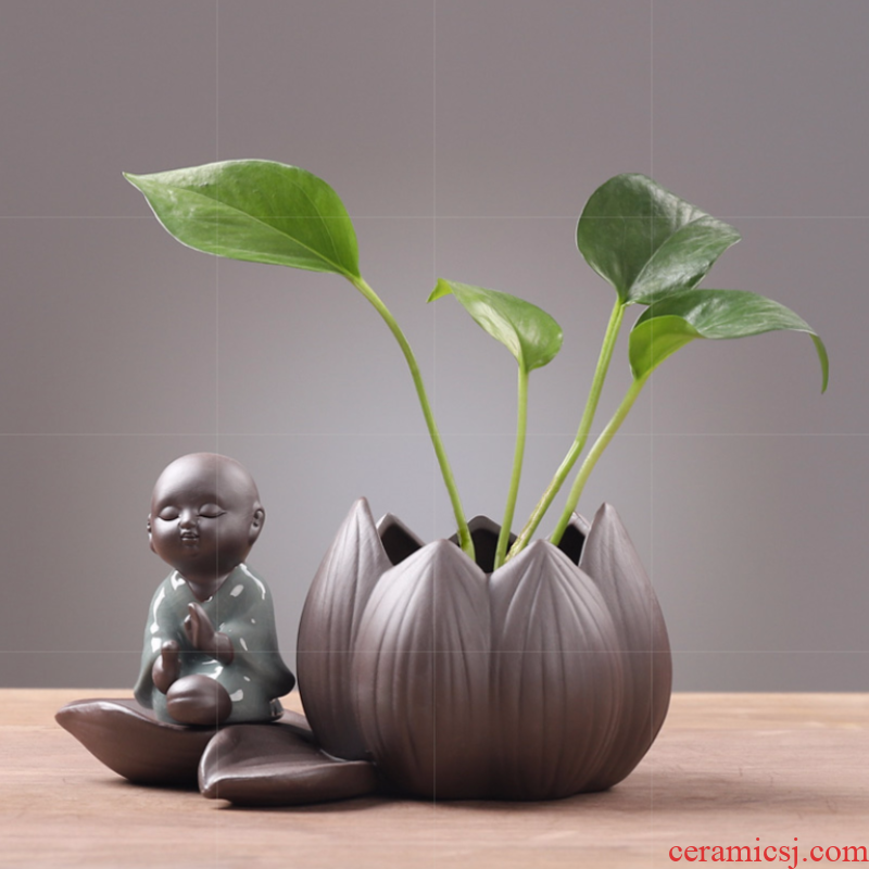 Ceramic vase miniascape of household of Chinese style restoring ancient ways, the young monk family wine rack zen tea table flower arrangement plant furnishing articles